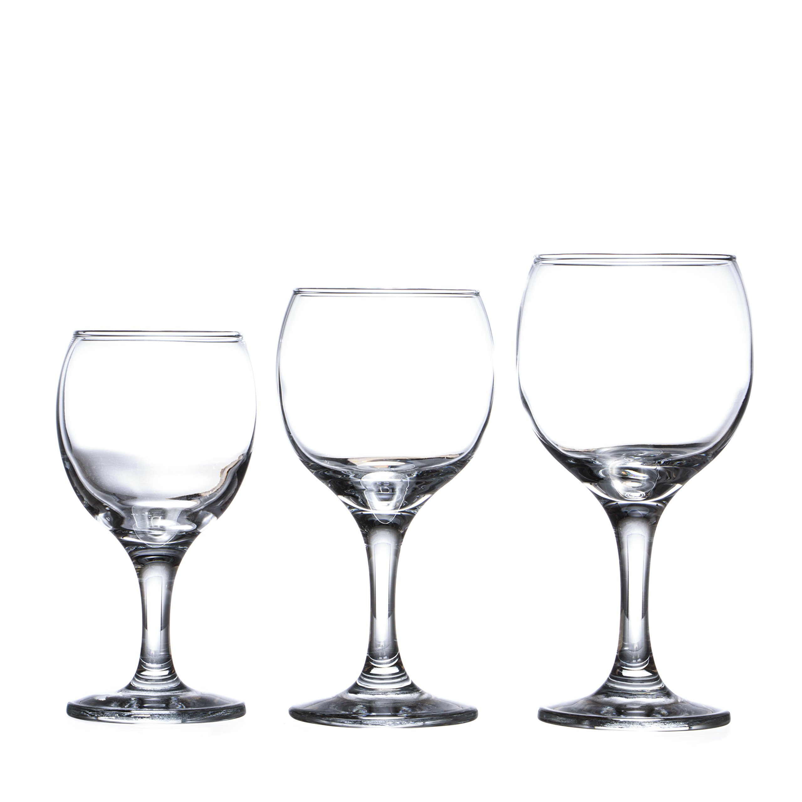 BISTRO 12-piece Wine Glasses Set (in 3 size), White, Red and Liquor Wine, Restaurant&Bar Quality, Durable Tempered Glass, Heavy Base, t.m. Pasabache (9 3/4 oz)