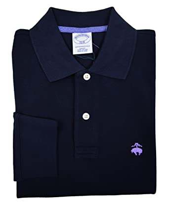 50e4603f Brooks Brothers Men's Slim Fit Long Sleeve Cotton Polo Shirt Navy Blue  (Small)