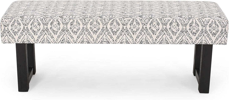 Cassie Boho Fabric Bench, Black Print