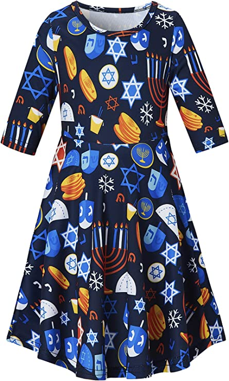 Lovekider Girls Christmas Dress Round Neck Floral Printed Dress Casual Holiday Party Sundress 6-7 Years
