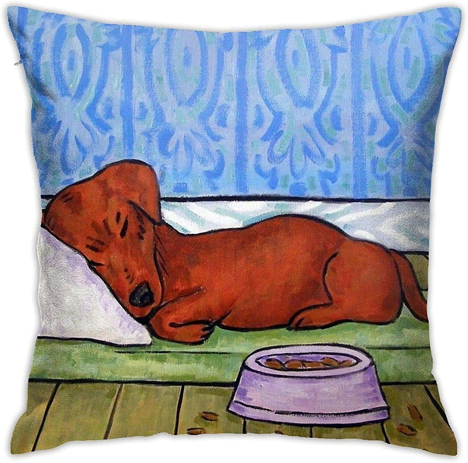 Andy Pansy Dachshund Ugliest Ugly FUUNY Red White Food Art Dog Pattern Throw Pillow Covers Cushion Cover Pillowcase for Sofa Couch Decor Home Decor 18x18 Inch (45 X 45cm)