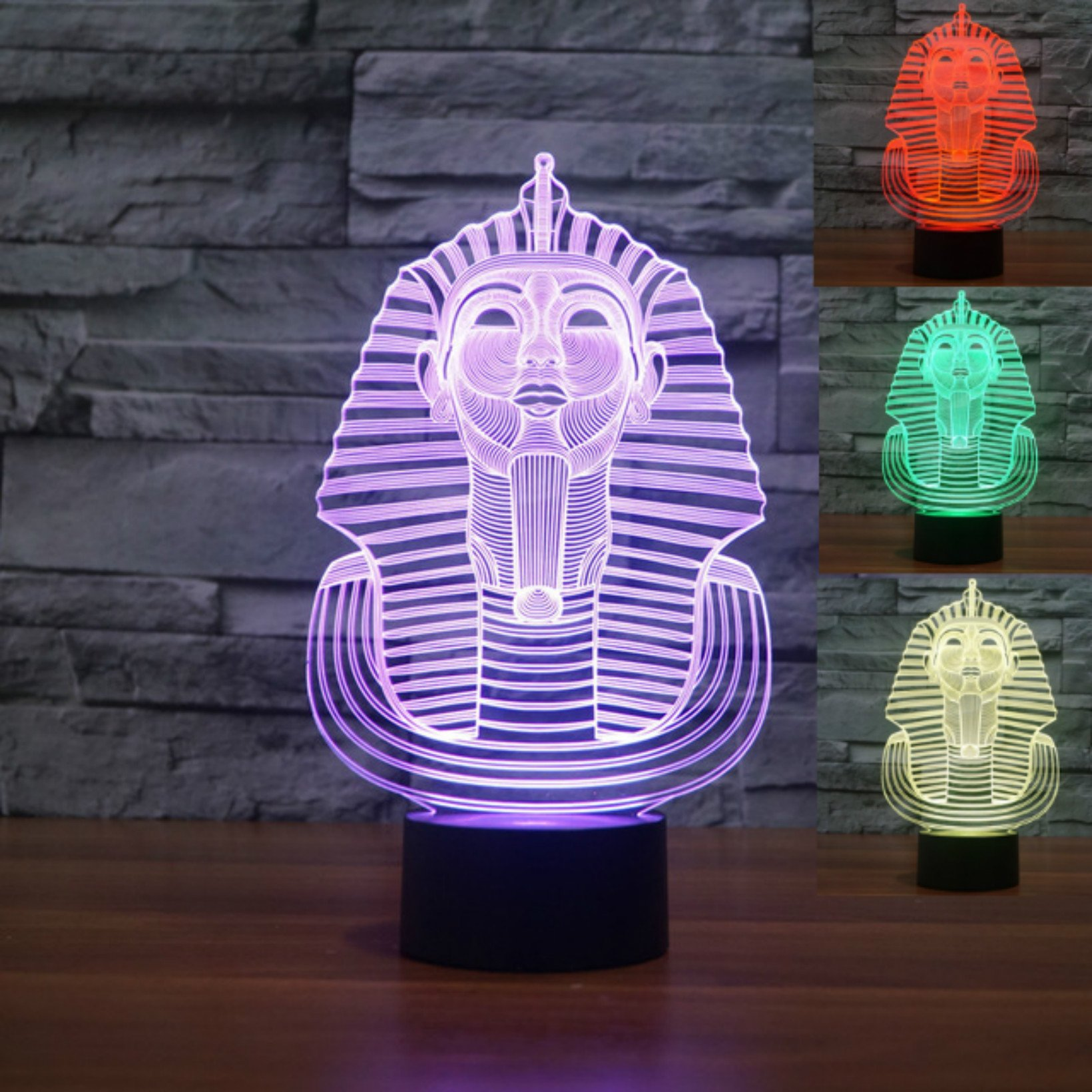 Cute Animal 3D Egypt Pharao Night Light USB Touch Switch Decor Table Desk Optical Illusion Lamps 7 Color Changing Lights LED Table Lamp Xmas Home Love Brithday Children Kids Decor Toy Gift