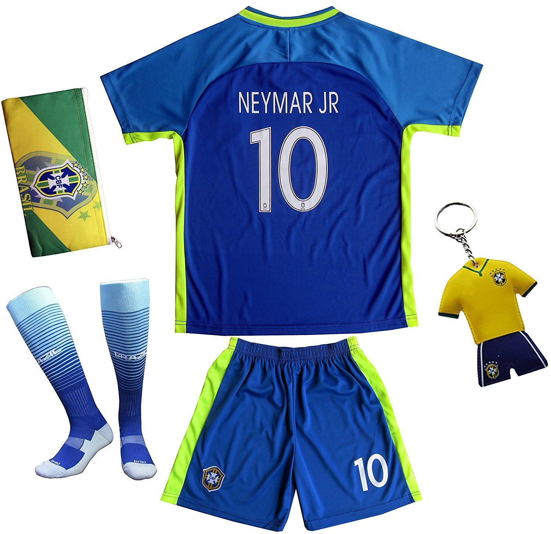 FWC 2018 Brasilien #10 NEYMAR JR. Auswärts Kinder Trikot Hose und Socken