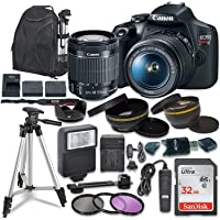 Canon EOS Rebel T7 Digital SLR Camera with Canon EF-S 18-55mm Image Stabilization II Lens, Sandisk 32GB SDHC Memory Cards, Accessory Bundle