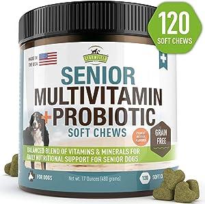 Senior Dog Vitamins and Supplements -120 Grain-Free Chewable Multi Vitamin - Senior Multivitamin for Dogs, Pet Glucosamine Chondroitin Joint Support, Arthritis, Immune Booster, Skin, Coat, Probiotics