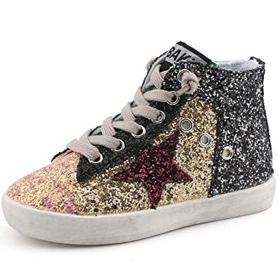 dd21cddcbafa Bakkotie Toddler Baby Glittler Shoe Girl Boy Sequin Star High Top Sneaker (F1701-