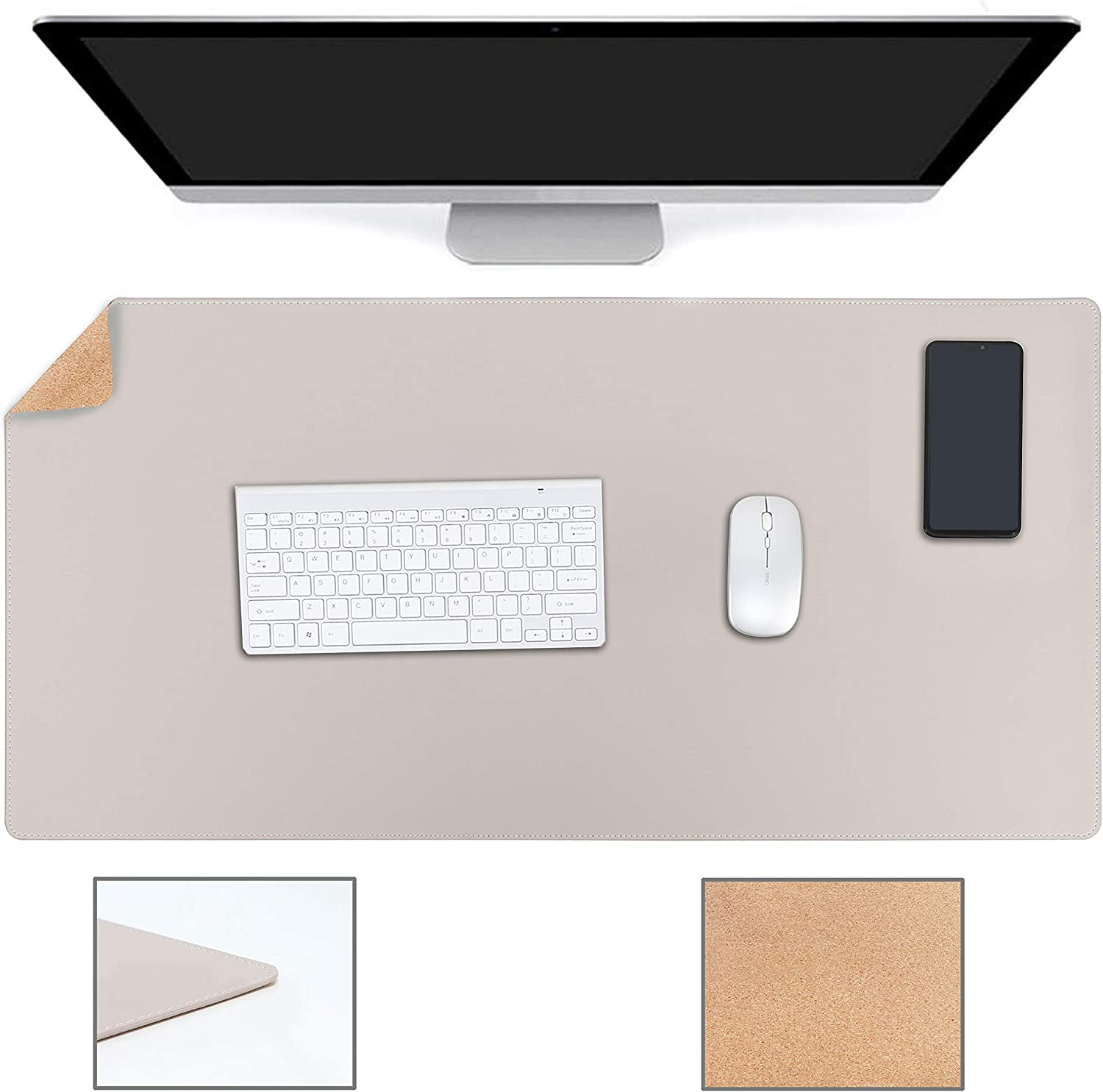 """YSAGi Multifunctional Office Desk Pad, Ultra Thin Waterproof PU Leather Mouse Pad, Dual Use Desk Writing Mat for Office/Home (35.4"""" x 17"""", Cork+Grey)"""