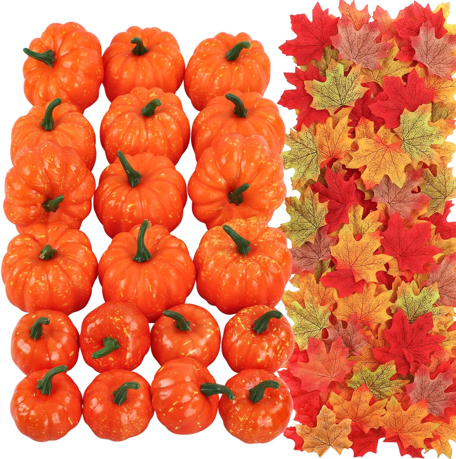 COCOBOO 20pcs Artificial Pumpkins in 2 Sizes with 200pcs Fake Maple Leaves for Fall Harvest Thanksgiving Party Décor