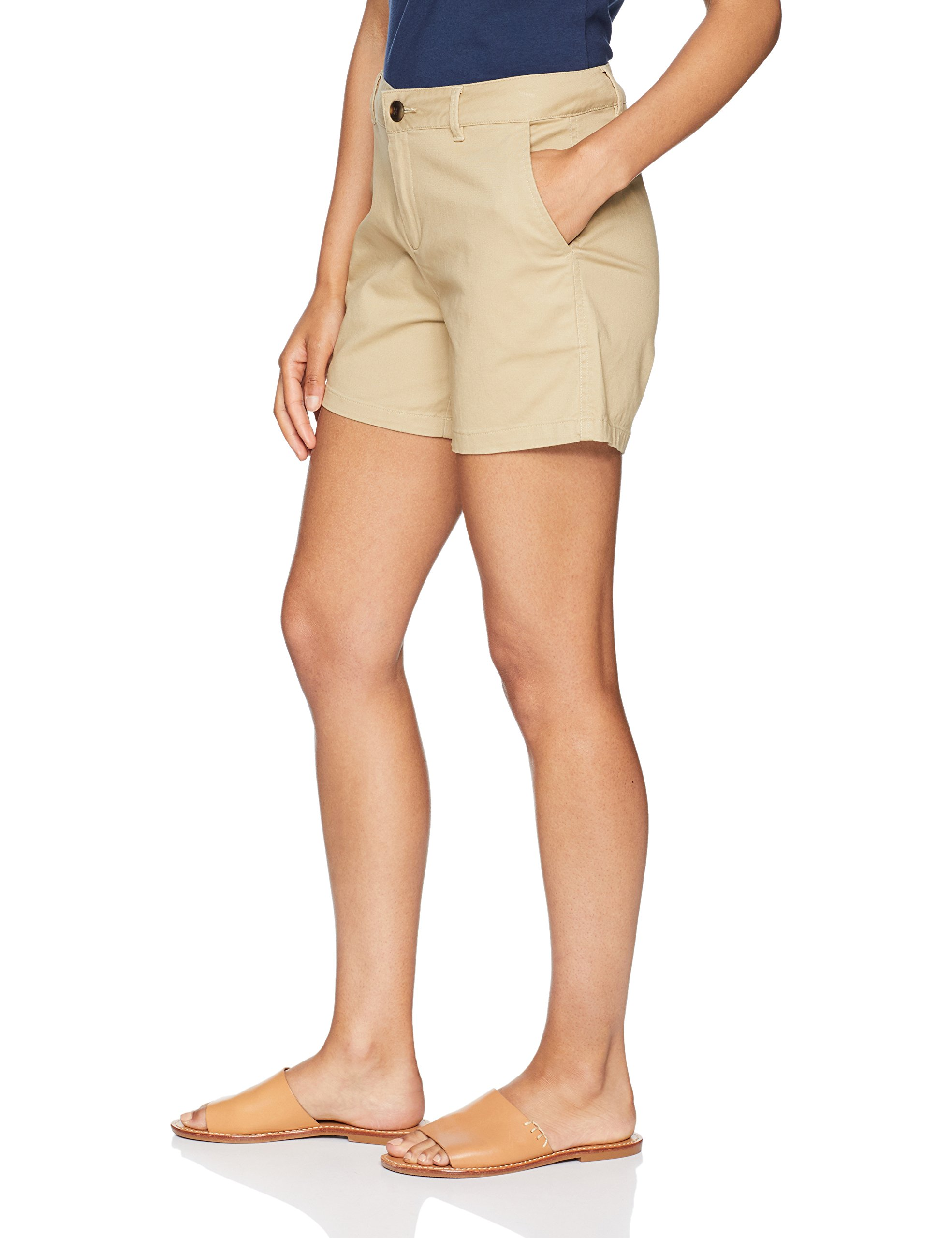 Amazon Essentials Women's 5'' Inseam Solid Chino Short Shorts, Khaki, 12 by Amazon Essentials (Image #4)
