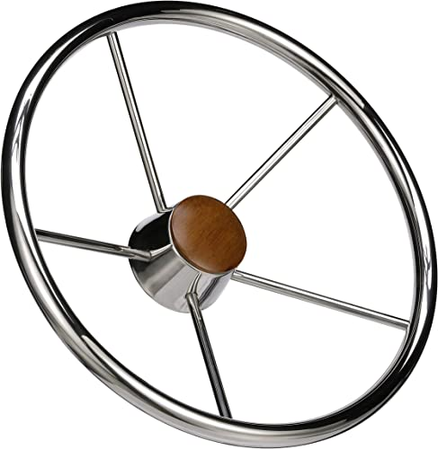 Chrome <span>Stainless Boat Steering Wheel</span> for Marine Yacht, Sailboat, Bass Boat [Seachoice] Picture