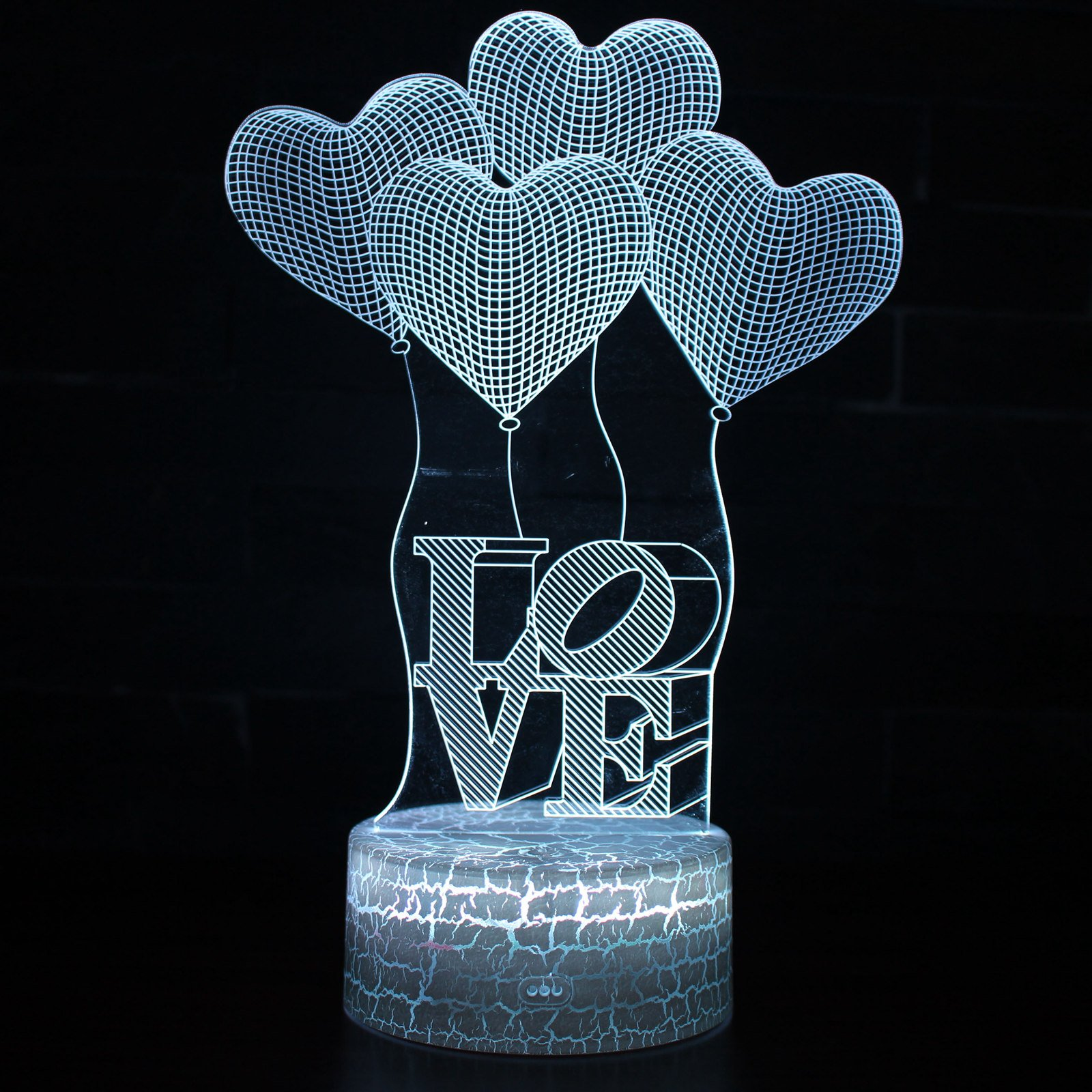 LED 3D Optical Illusion Smart 7 Colors Night Light Table Lamp with USB Cable (Love & Heart Shape)