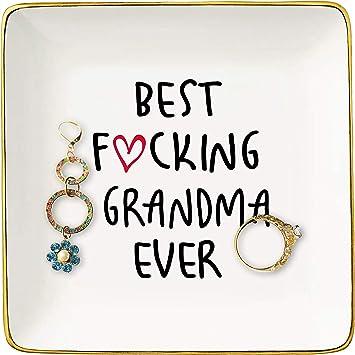Best Grandma Gifts - Ceramic Jewelry Holder Ring Dish Trinket Tray - New Year Birthday Christmas Gifts for Nana Mom Grandma