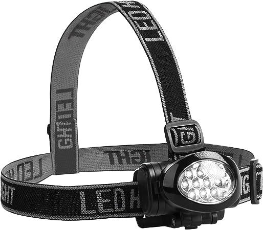 Ultrasport Linterna frontal de cabeza con 10 ledes, multifunción, inclinable, con cinta elástica, para correr, pescar, con 3 niveles de iluminación y ...