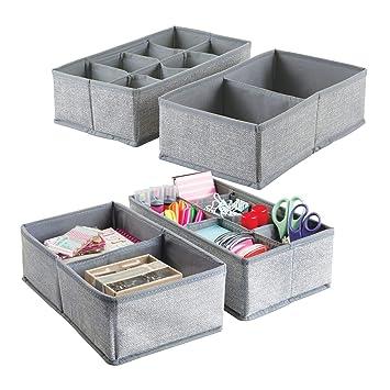 mDesign Juego de 4 separadores de cajones ? 20 compartimentos en total - Cajas organizadoras de
