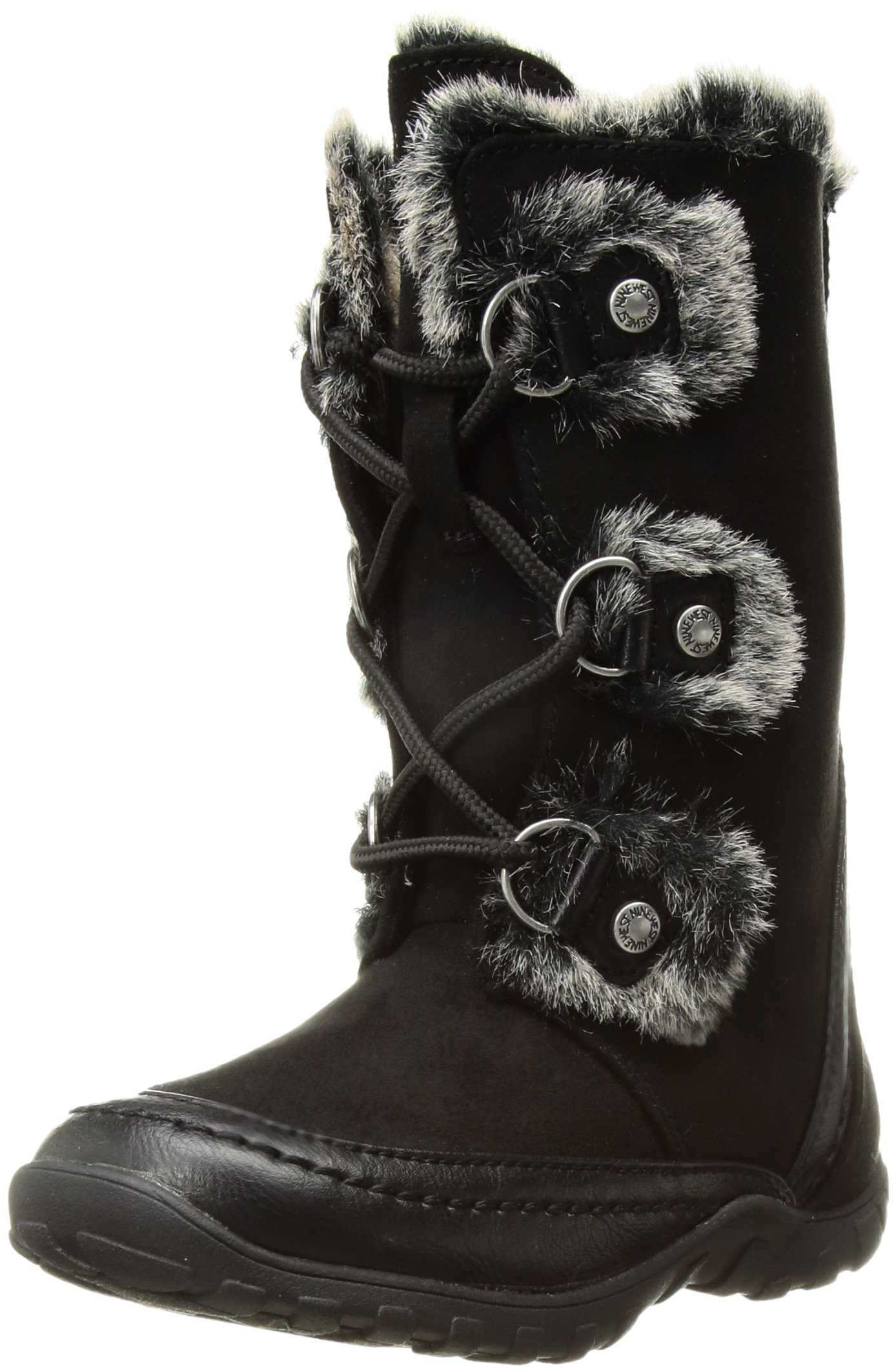 Nine West Girls' Daffodil 2 Fashion Boot, Black Microfiber, 10 Medium US Toddler