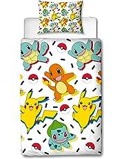 Pokemon Housse de Couette Simple | réversible Deux Face Memphis Parure de lit Amusant avec Pikachu, Carapuce & Salamèche avec taie d'oreiller Assortie, Multicolore, 200x 135cm