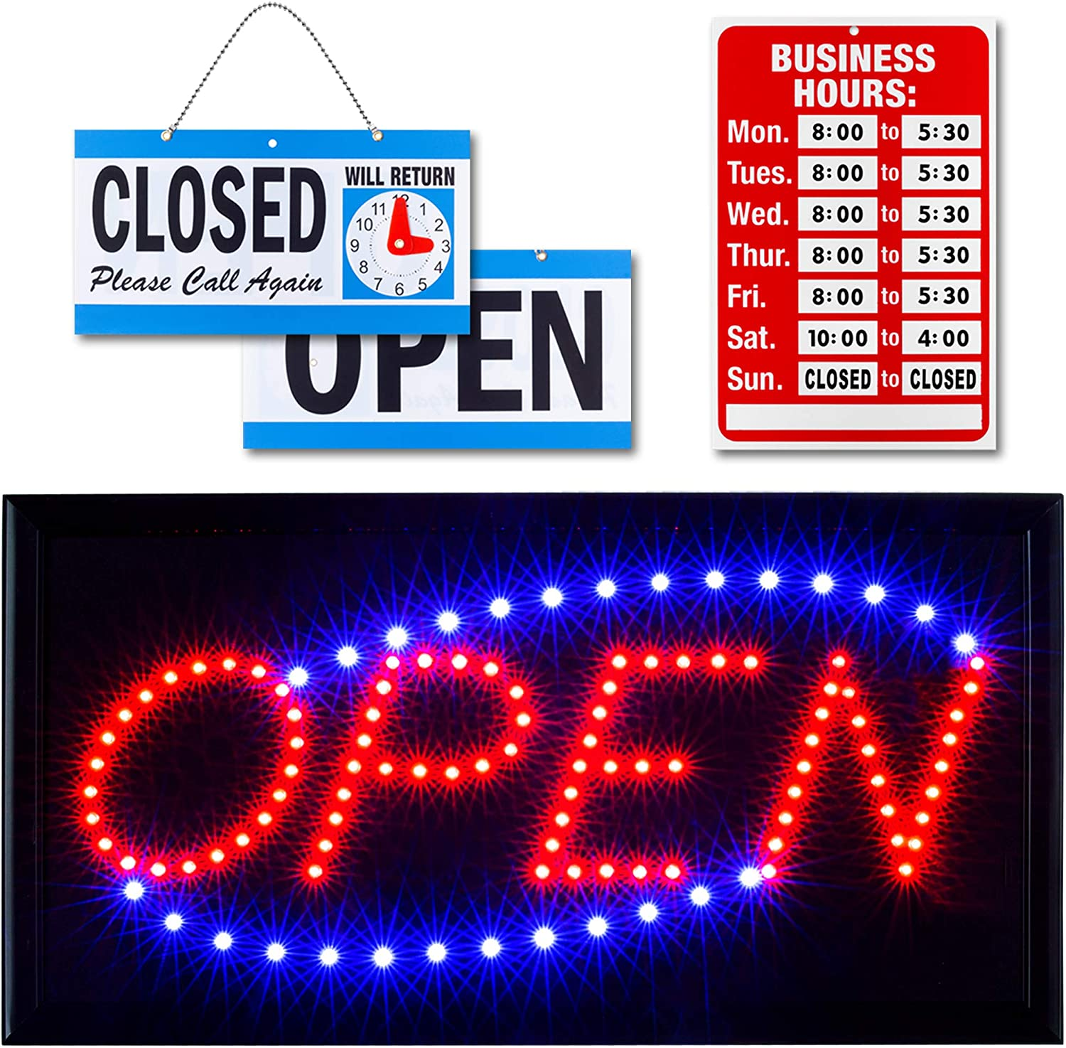 Ultima LED Neon Open Sign for Business: Lighted Sign Open with Flashing Mode – Indoor Electric Light up Sign for Stores (19 x 10 in, Model 2) Includes Business Hours and Open & Closed Signs