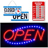 Ultima LED Neon Open Sign for Business: Lighted Sign Open with Flashing Mode – Indoor Electric Light up Sign for Stores (19 x