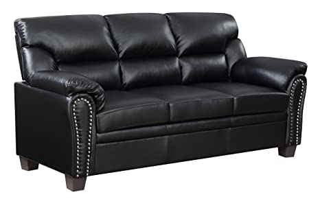 Amazon.com: Muebles mundo Jefferson sofá, Poliuretano, Negro ...