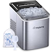 Ice Maker Machine Countertop, HolySpring Portable Ice Makers with Ice Bags and Standing Ice Scoop Basket, Countertop Ice…