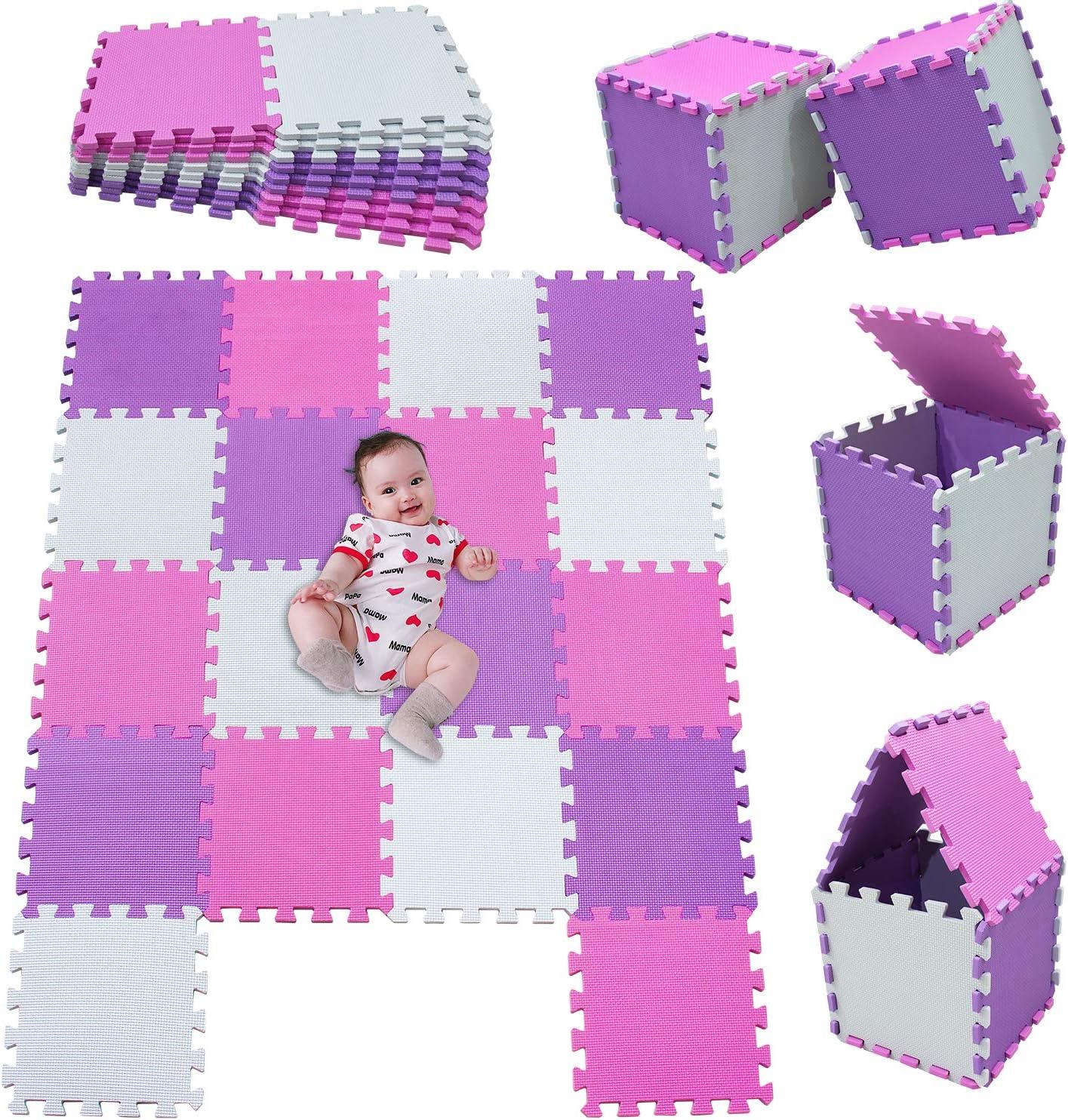 MSHEN18 Piezas Alfombra Puzzle Bebe con Certificado CE y certificación EVA | Puzzle Suelo Bebe | Puede ser Lavado Goma eva,Tamaño 1.62 Cuadrado,blanco-rosa-púrpura-010311g18