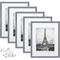 upsimples 11x14 Picture Frame Set of 5,Display Pictures 8x10 with Mat or 11x14 Without Mat,Wall Gallery Photo Frames,Ash…