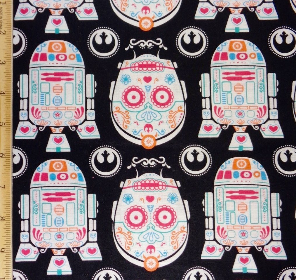 1/2 Yard - Star Wars R2-D2 and C-3PO Sugar Skulls Cotton Fabric - Officially Licensed (Great for Quilting, Sewing, Craft Projects, Quilts, Throw Pillows & More) 1/2 Yard X 44 Wide Camelot Fabrics