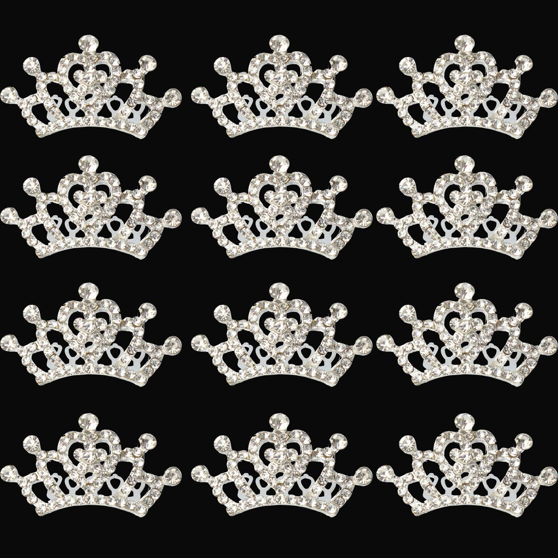 XiangGuanQianYing Princess Crown Comb Tiara Hair Clips for Princess Party Favor 12 pcs XuRen