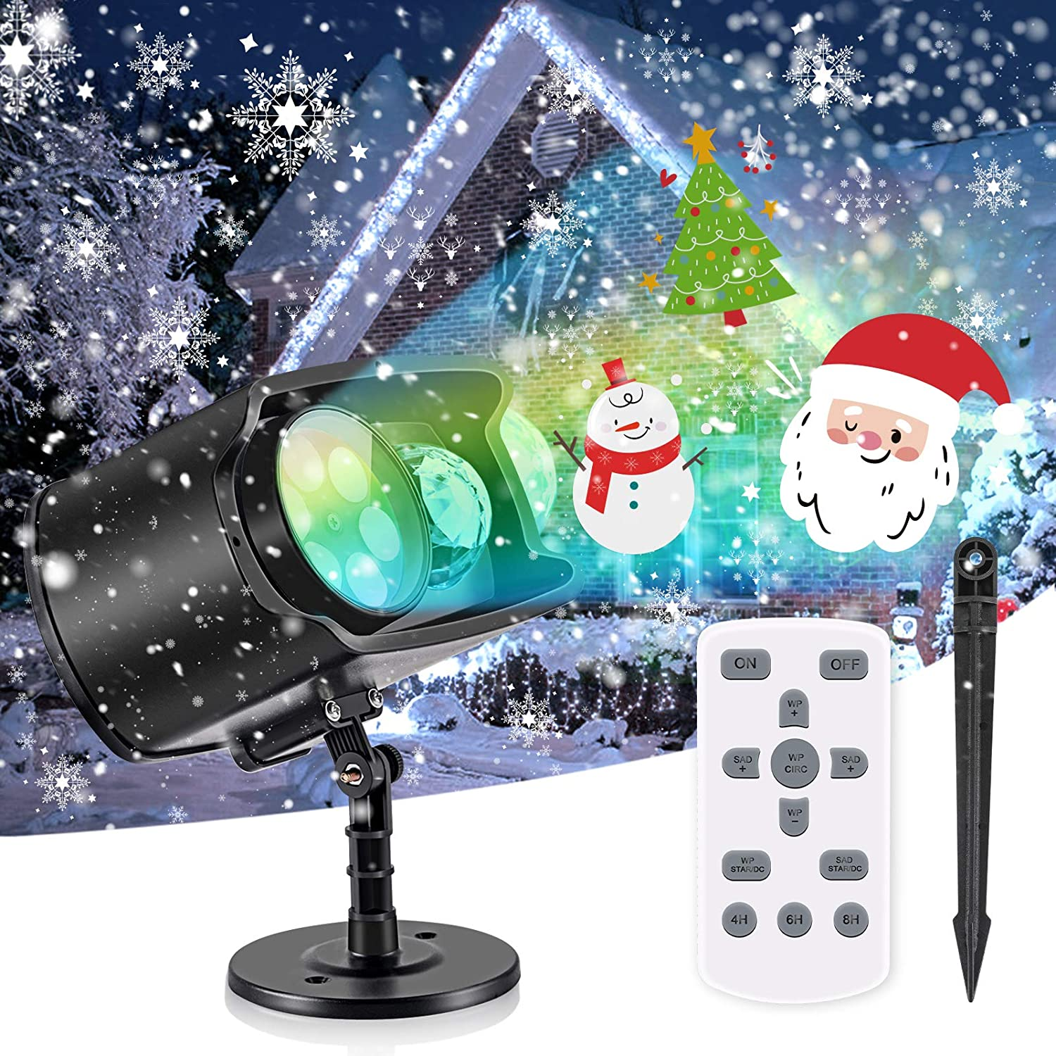 Christmas Projector Lights,No Slides Needed,AGPTEK 2-in-1 Water Wave & Moving Patterns Projector Lights for Outdoor Indoor Holiday Party