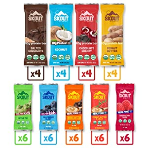 Skout Organic Real Food Bars for Kids and Protein Bars Variety Pack Bundle (42 Pack) | Organic Snacks for Kids | Plant-Based Nutrition, No Refined Sugar | Vegan | Gluten, Dairy, Grain & Soy Free