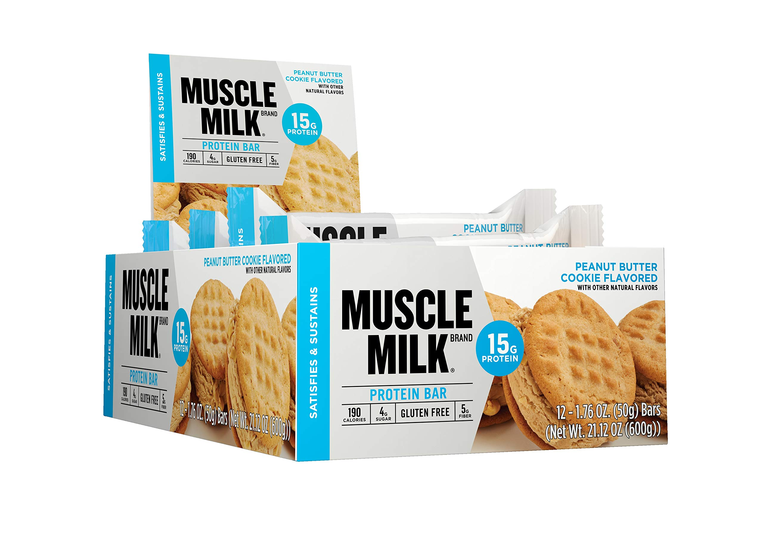 Muscle Milk Protein Bar, Peanut Butter Cookie, 15g Protein, 12 Count by CytoSport