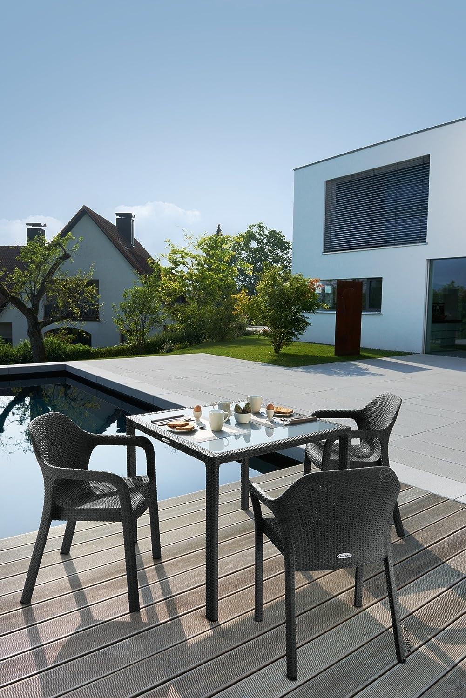 Amazon.de: LECHUZA Esstisch mit Glasplatte (Gartenmöbel), Granit, 90 ...