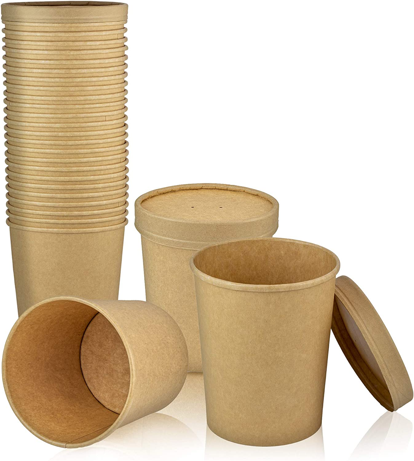 [25 Pack] 32 oz Kraft Compostable Paper Food Cup with Vented Lid - Brown Rolled Rim Storage Bucket, Hot or Cold Dish To Go Packaging, Ramen Soup Stews Salad Frozen Dessert Yogurt Ice Cream Container