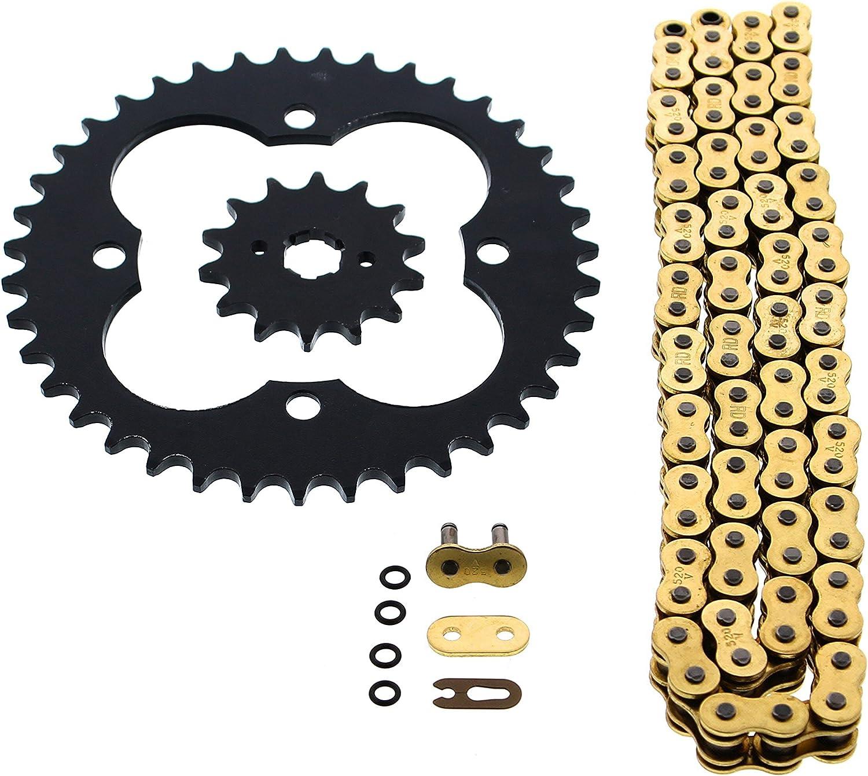 Fits Honda TRX250R 250R 520-96 Gold O Ring Chain /& Sprocket Black 14//39