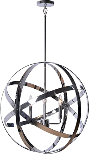 Kenroy Home Kenroy 93553CH Transitional Three Light Chandelier from Global Collection in Chrome Finish, 24.00 inches