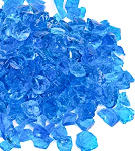 X Home 20LB Fire Pit Glass, 1/2 Inch Turquoise Blue Fire Glass for Propane Fire Pit and Gas Fireplace, Decorative Fire Pit Glass Pellets for Fire Table Outdoor Indoor, Garden, Yard, Landscape