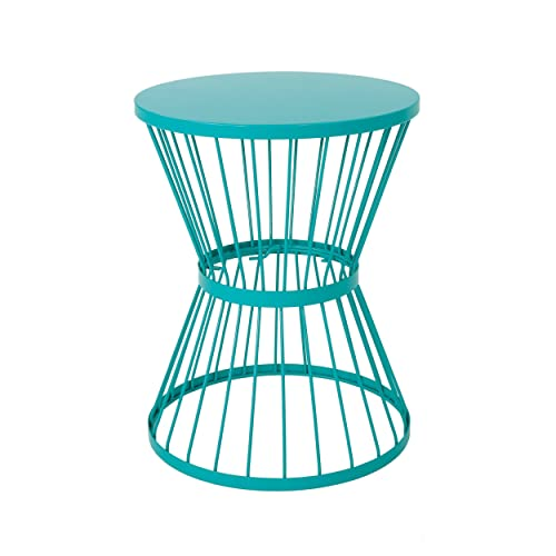 Christopher Knight Home 304132 Fern Outdoor 16 Inch Matte Teal Iron Side Table