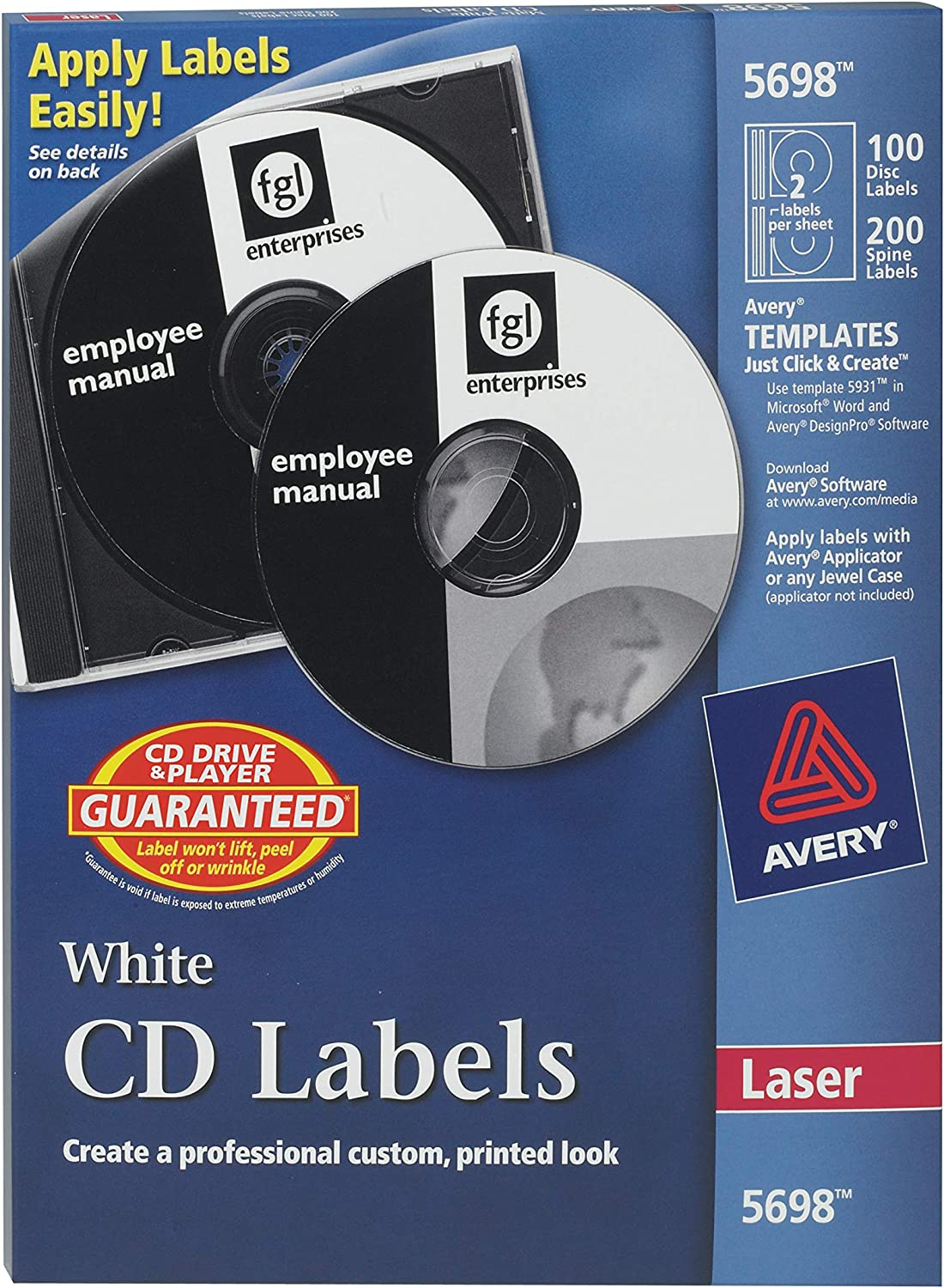 Amazon Com Avery Cd Labels For Laser Printers White 100 Disc Labels And 200 Spine Labels 5698 All Purpose Labels Office Products