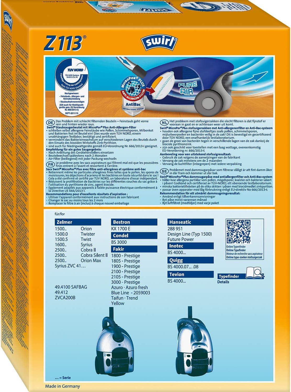 Sacchetto per la Polvere Filtro Sacchetti 10 Sacchetto per aspirapolvere per Hanseatic Fresh 1800 2 FILTRO