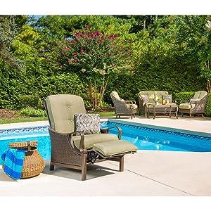 Hanover VENTURAREC Ventura Recliner Outdoor Furniture, Vintage Meadow