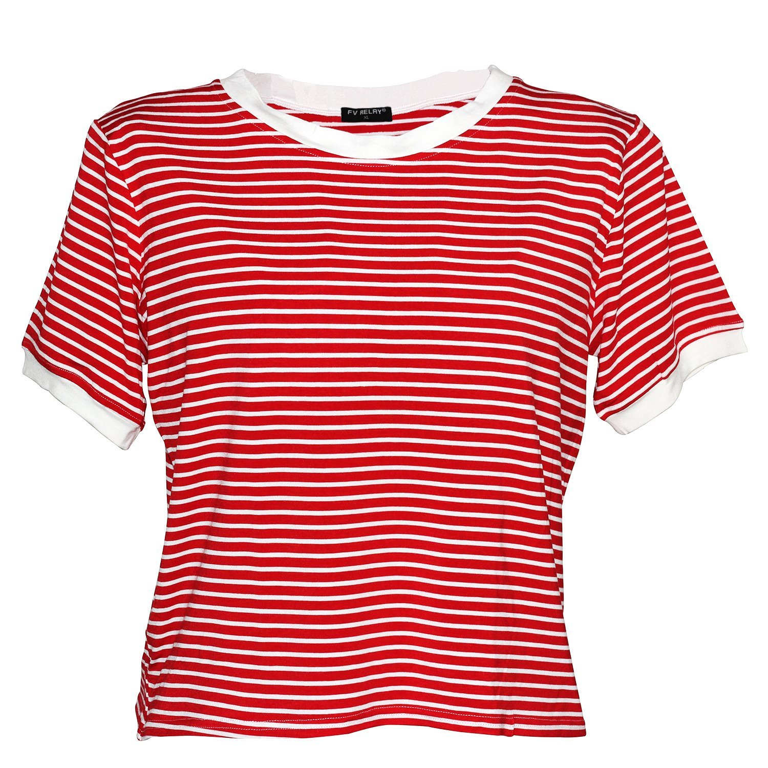 1940s Blouses, Shirts and Tops Fashion History Stripe Pattern Crop Top Short Sleeve O-Neck T-Shirt Loose Tops $13.99 AT vintagedancer.com