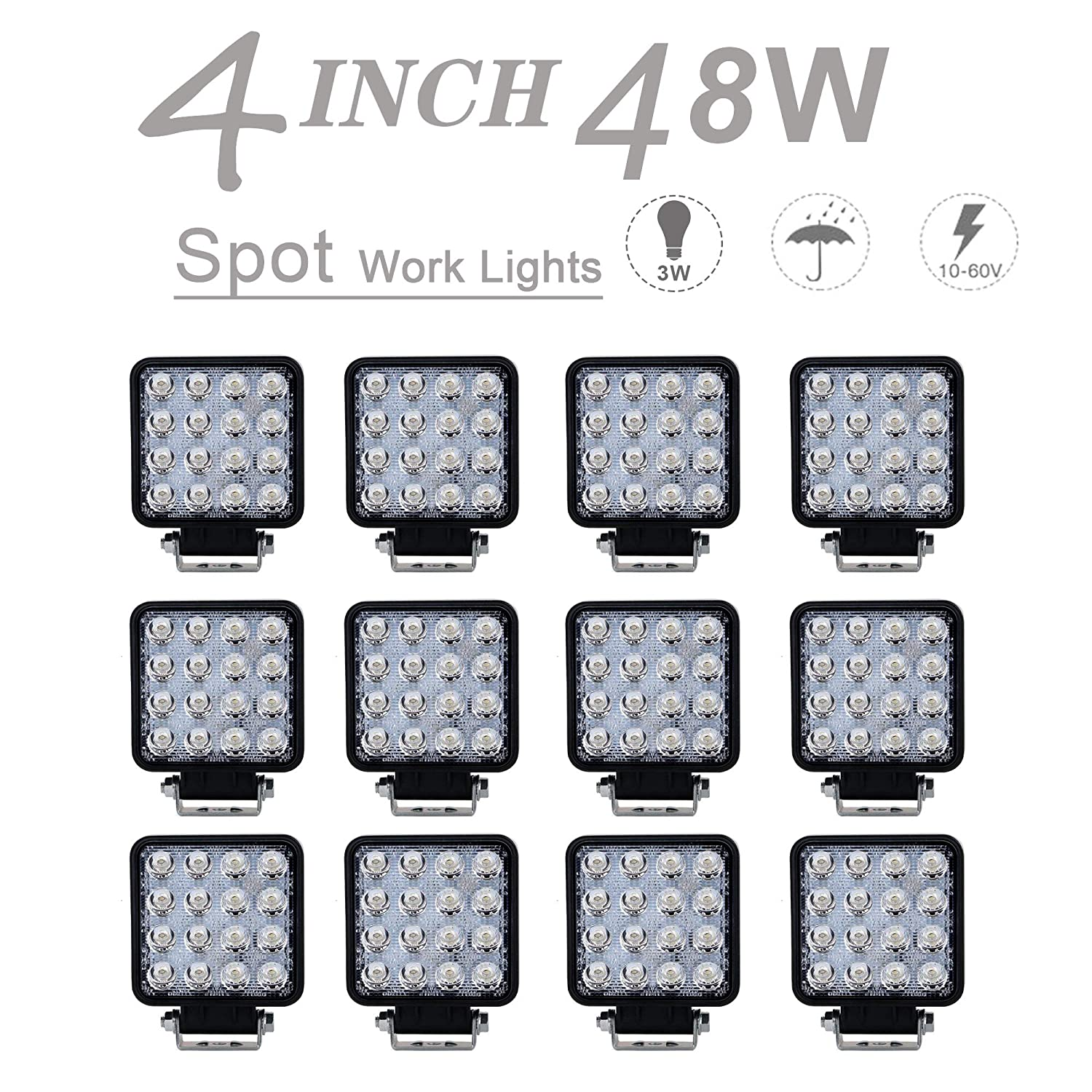 12V-24V 12pcs Square 4' 48W Spot LED Fog Lights DRL Driving Back Up Work Lamps Grill Front Rear Bumper Cube Pods Light for ATV 4X4 Tractor Boat Side By Side Dodge John Deere Off Road Pickup F150 Jeep UNI FILTER
