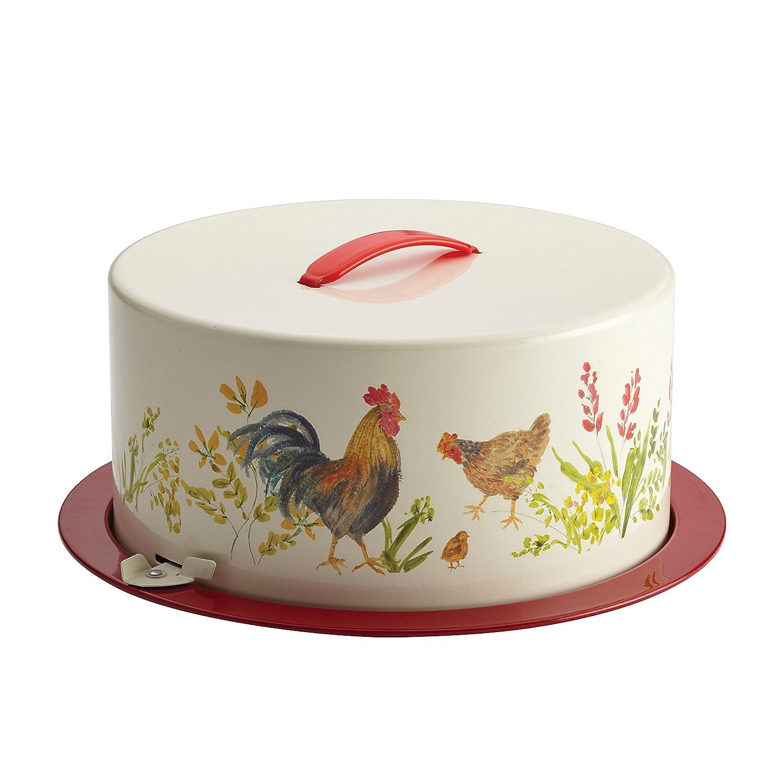 Amazon.com: Paula Deen Pantryware Metal Cake and Pie Carrier, Garden  Rooster: Kitchen & Dining
