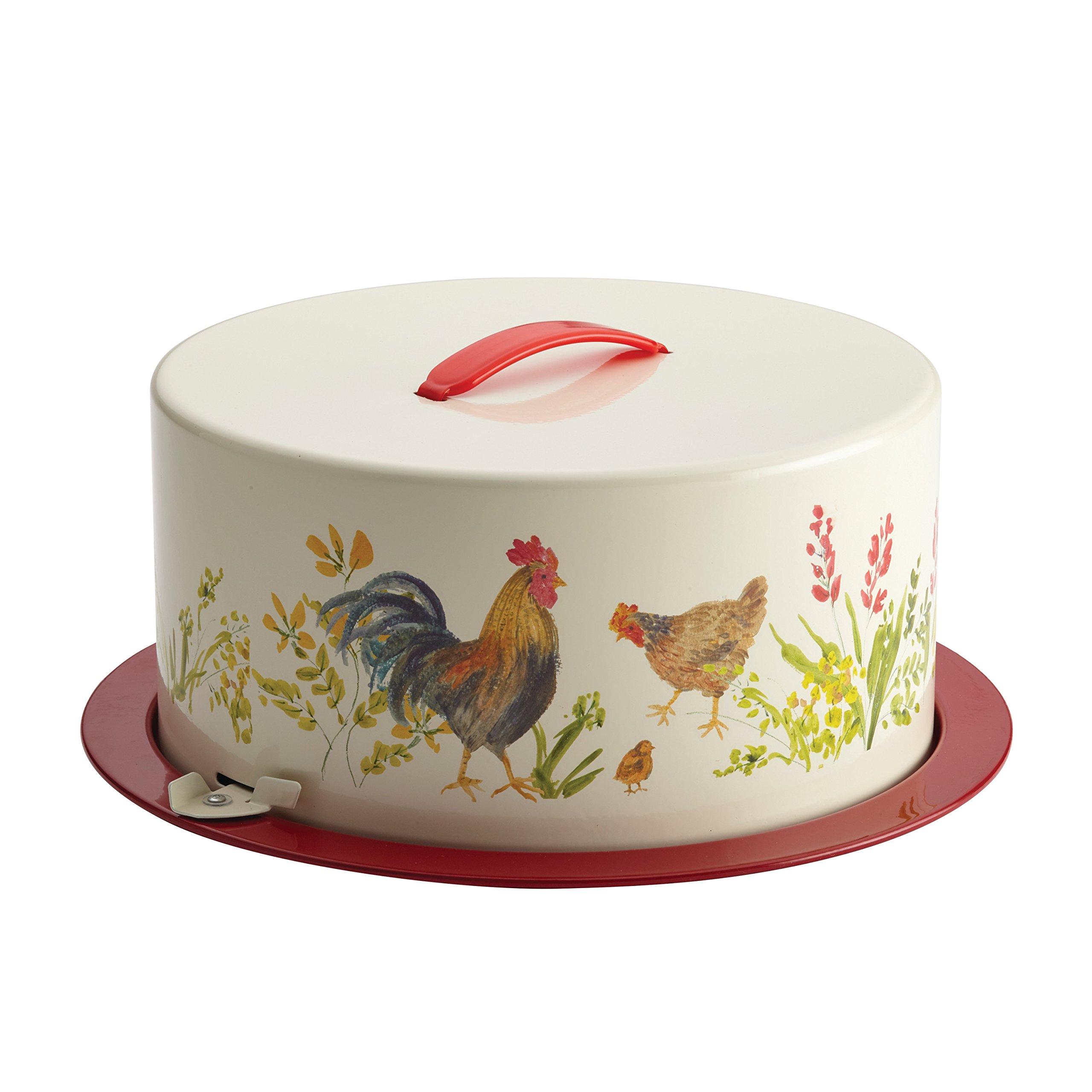 Paula Deen Pantryware Metal Cake and Pie Carrier, Garden Rooster