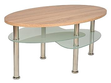 Ts Ideen Design Wohnzimmer Holz Glastisch Couchtisch Beistelltisch  Kaffeetisch 90 X 55 Cm Oval