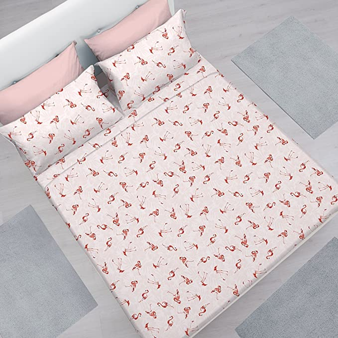 BRIGHT FLORAL OVAL POLKA DOT RED COTTON BLEND DOUBLE DUVET COVER