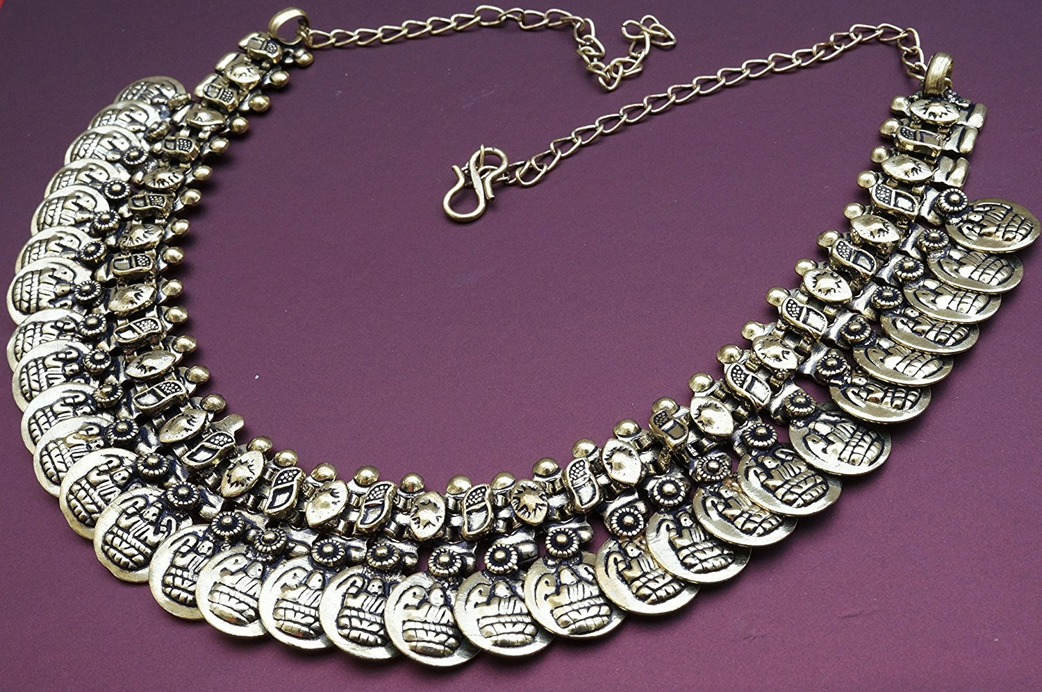 The Trendy Trendz India Bollywood Oxidized Silver Coin Choker Necklace Jewelry for Women and Girls