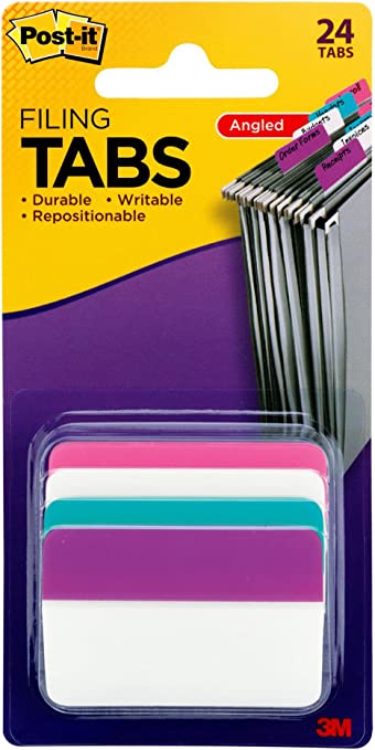 "/""Post-it Tabs Durable File Tabs Aqua//pink//violet//white 2 X 1 1//2 24//pack/"""