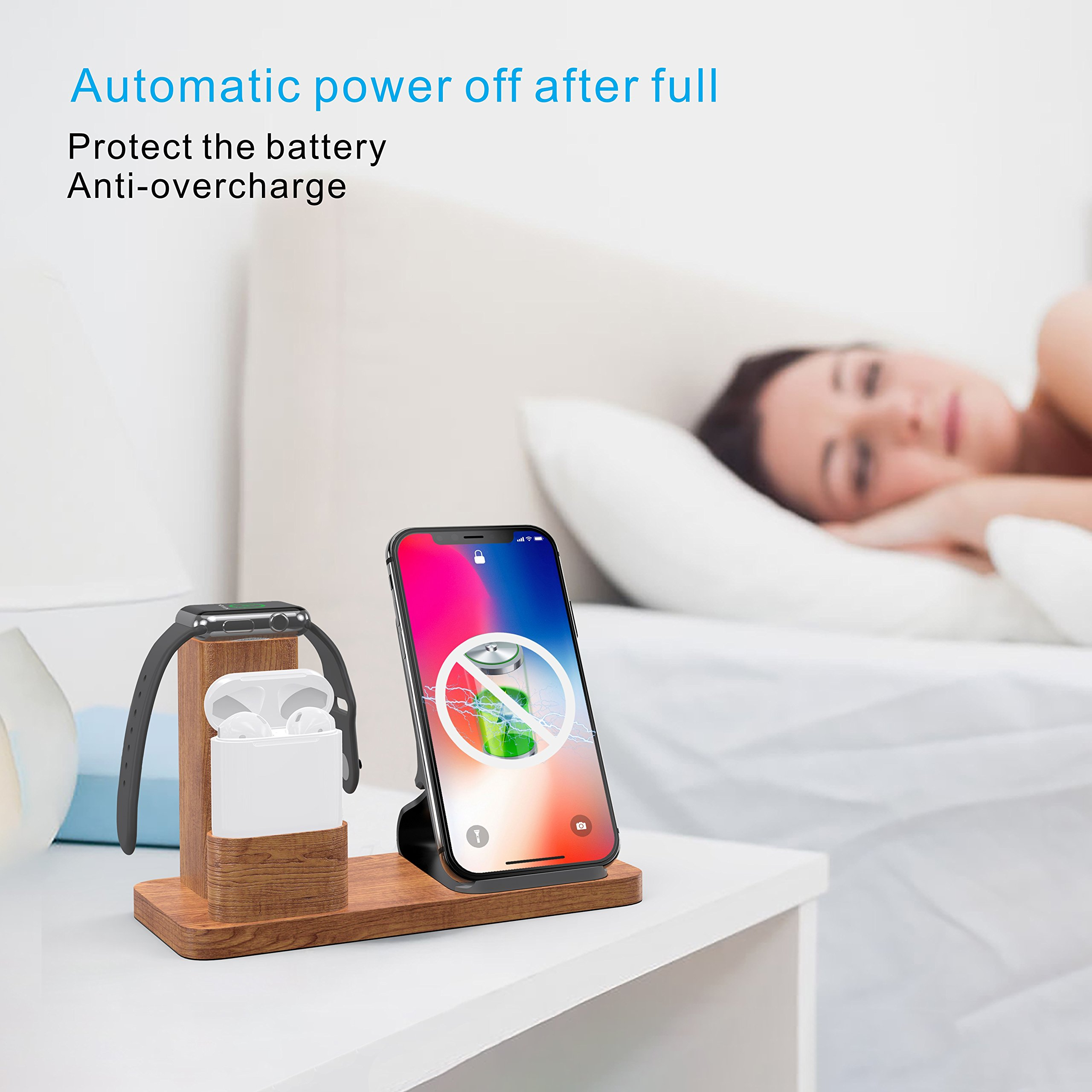 Wireless Charger Stand Apple Watch Airpods Charging Station, OLVOO 3 in 1 Wood Charging Docks for AirPods/Apple Watch Series 3/2/1 iPhone X/8/8 Plus Samsung Note 8/S9/S9 Plus by OLVOO (Image #3)