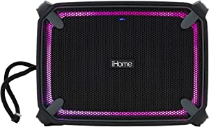 iHome IBT372 Weather Tough Portable Rechargeable Bluetooth Speaker with Speakerphone and Accent Lighting